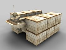 Model Of Garbage Ship Stock Images