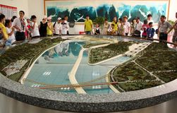 Model Of Three Gorges Dam With Tourists Royalty Free Stock Photo