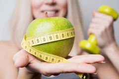 Model offers nutrition Royalty Free Stock Photo