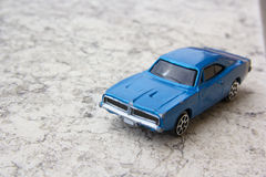 Model of old blue car. Toys: model of old blue car Royalty Free Stock Image