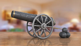Model of old cannon. Side model of old cannon and pile of balls on wooden surface Stock Photography