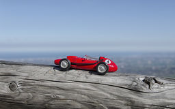 Model of old car and breathtaking panorama Stock Photography