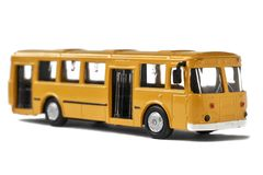 Model of old soviet bus isolated on white. Close up Royalty Free Stock Photo