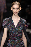 Model Ondria Hardin walk the runway at the Diane Von Furstenberg fashion show during MBFW Fall 2015 Stock Image
