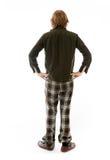 Model op duidelijke achterhanden wordt geïsoleerd die als achtergrond Stock Foto