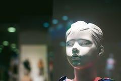 Model op een winkelvenster Stock Fotografie