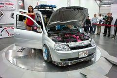 Model and Opel Combo Stock Photo