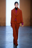 Model Ophelie Guillermand walk the runway at the Derek Lam Fashion Show during MBFW Fall 2015 Royalty Free Stock Photos