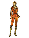 Model in orange suit. One illustration from my set of fashion illustratoins Royalty Free Stock Photo