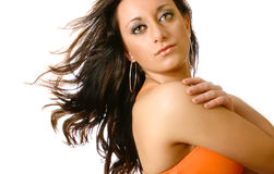 Model in orange tank top royalty free stock photos