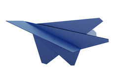 Model paper airplane on white background. 3d rendering. Model paper airplane on white background. Origami plane. Blue paper airplane. 3d rendering Stock Photos
