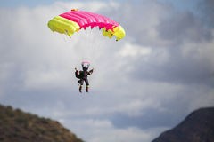 Model parachuter. A model parachuter at the Robertson fly in show Royalty Free Stock Photo