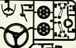 Model parts. Close up of a motorcycle model parts Stock Photos