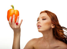 Model with pepper Royalty Free Stock Photos