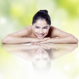 Model with perfect skin and water reflection Royalty Free Stock Images