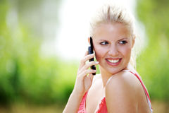 Model with the phone Royalty Free Stock Photos