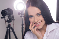 Model at photo studio. Royalty Free Stock Image