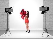 Model in photo studio with spotlights Stock Photos