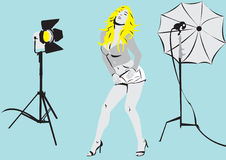 Model in photo studio2 Royalty Free Stock Images