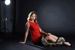 Model in the photostudio. Royalty Free Stock Photography