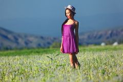 Model in a pink dress on a dandelion field in a straw hat Stock Photos