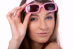Model in pink sun-glasses Stock Image