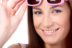 Model in pink sun-glasses Royalty Free Stock Photos