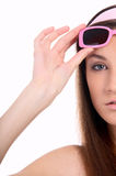 Model in pink sun-glasses Royalty Free Stock Image
