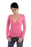 Model in pink top Stock Image