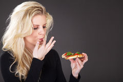 Model with pizza Royalty Free Stock Photography