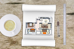 Model plan of flat with divider Stock Photography