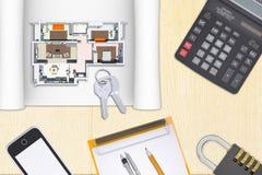 Model plan of flat with folder Stock Photo