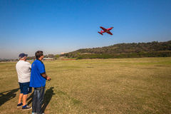 Model RC Plane Flying Pass Pilot  Royalty Free Stock Images