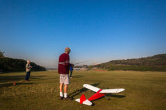 Model RC Plane Taxi Runway Pilots Stock Photo