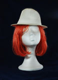 Model of polystyrene pink wig white hat Stock Photography