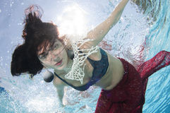 Model in  a pool underwater Royalty Free Stock Photography