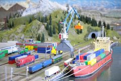 Model of port with railway Royalty Free Stock Photo