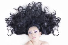 Model portrait with black hair Royalty Free Stock Images