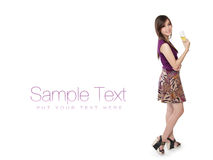 Model pose with champagne, on white with text space Stock Images