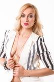 model posera studio för härlig modeflicka Royaltyfria Bilder