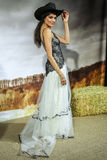 A model poses during the Claire Pettibone Bridal Spring/Summer 2016 Runway Show Royalty Free Stock Photography
