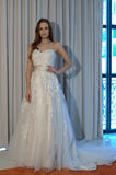 A model poses at the Henry Roth Bridal Sprng 2016 Collection presentation. NEW YORK, NY - APRIL 22: A model poses at the Henry Roth Bridal Sprng 2016 Collection Royalty Free Stock Images