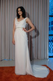 A model poses at the Henry Roth Bridal Sprng 2016 Collection presentation. NEW YORK, NY - APRIL 22: A model poses at the Henry Roth Bridal Sprng 2016 Collection Royalty Free Stock Photo