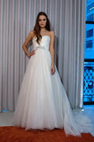 A model poses at the Henry Roth Bridal Sprng 2016 Collection presentation. NEW YORK, NY - APRIL 22: A model poses at the Henry Roth Bridal Sprng 2016 Collection Stock Images