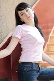 A model posing. Outside stock image