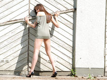 Model Posing. In high-heels Stock Photography