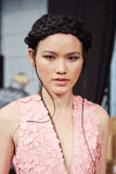 A model posing backstage at the New York Life fashion show during MBFW Fall 2015 Stock Photos