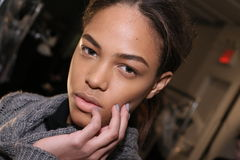 A model posing backstage at the Sally LaPointe Fashion show during MBFW Fall 2015 Stock Photos