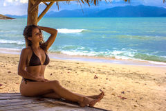 Model posing at the beach Royalty Free Stock Photography