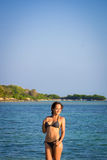 Model posing at the beach Stock Photos